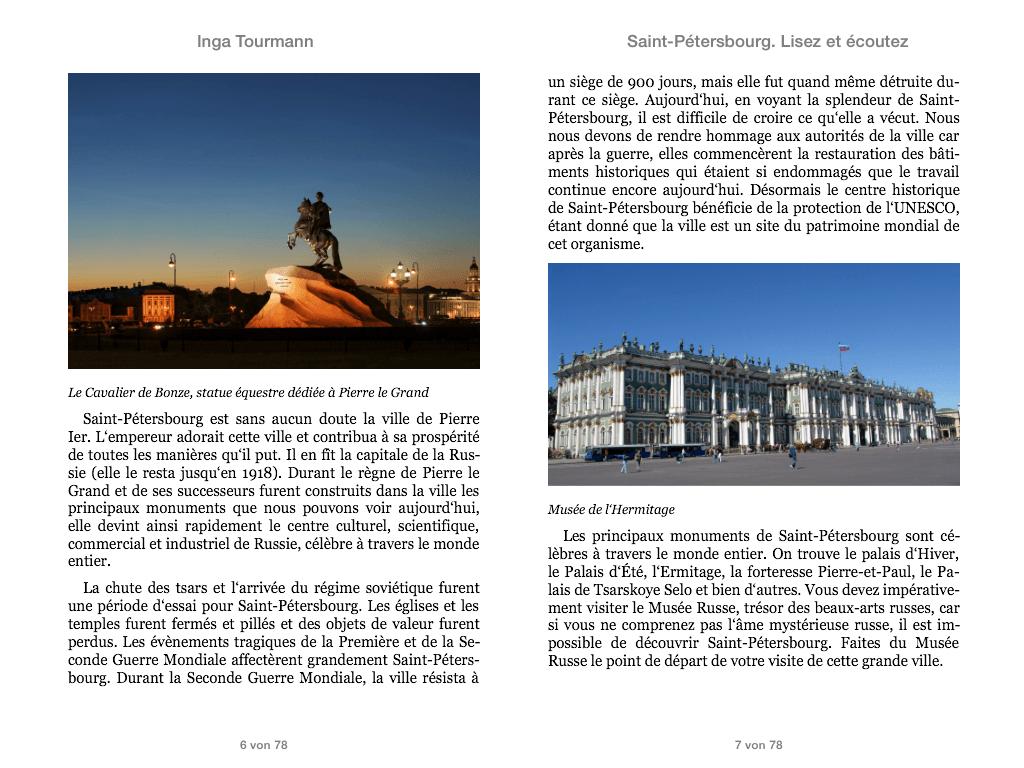 Saint-Pétersbourg. Lisez et écoutez
